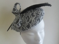 Suzie Mahony Designs Black Beret with Ivory Lace